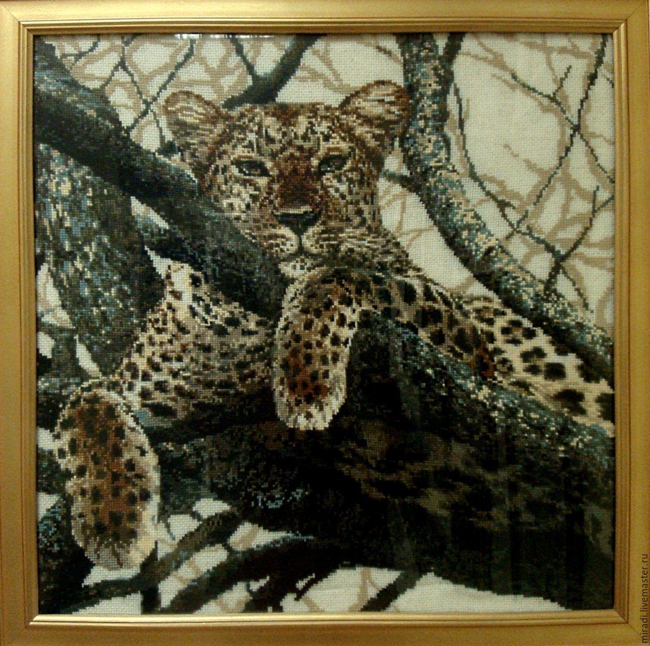 Вышитая картина Леопард, Картины, Ухта, Фото №1
