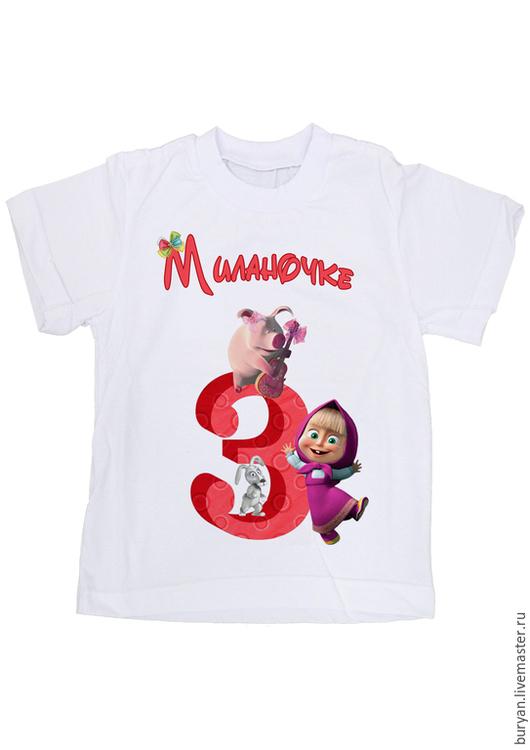 """Одежда для девочек, ручной работы. Ярмарка Мастеров - ручная работа. Купить Детская футболка """"Маша и медведь"""". Handmade. Белый"""