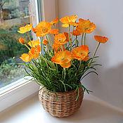 Цветы и флористика ручной работы. Ярмарка Мастеров - ручная работа Композиция с оранжевыми маками. Handmade.