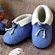 """Обувь ручной работы. Ярмарка Мастеров - ручная работа. Купить Тапочки детские валяные синие """"Для милого мальчика"""". Handmade."""