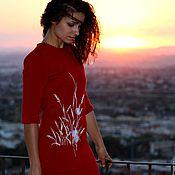 """Одежда handmade. Livemaster - original item Красное полушерстяное платье с объемной вышивкой """"Колоски"""". Handmade."""