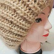 Шапка вязаная шерстяная модная шапка женская спицами из мохера