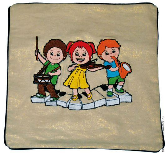 """Текстиль, ковры ручной работы. Ярмарка Мастеров - ручная работа. Купить Подушка """"детский оркестр"""". Handmade. Разноцветный, подушка, музыкант"""