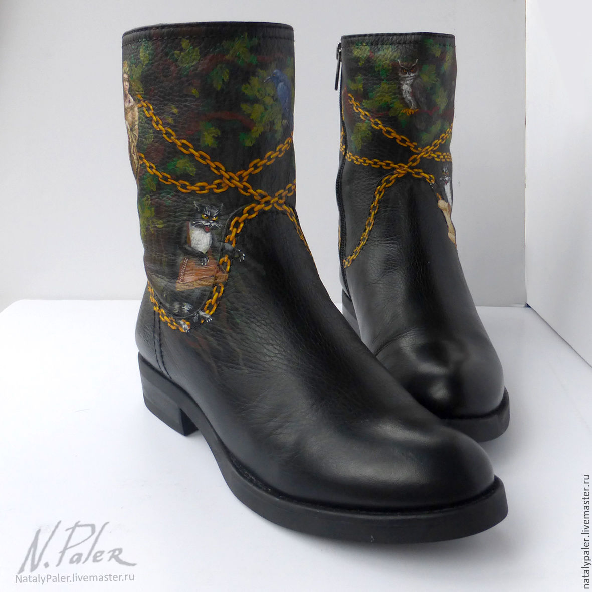 Painting on shoes. Boots 'Lukomorye', High Boots, Moscow,  Фото №1