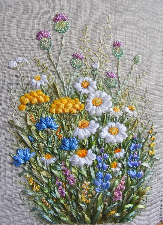 Вышивка лентами. Картина «Полевые цветы». Часть 1 801