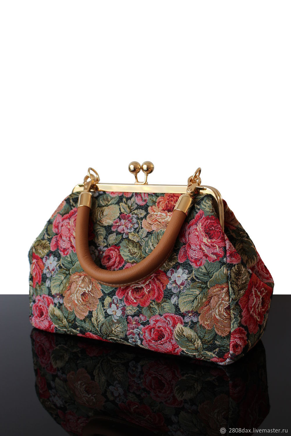 Bag with clasp: Women's Travel Bag Retro Vintage Roses, Tapestry, Clasp Bag, Bordeaux,  Фото №1