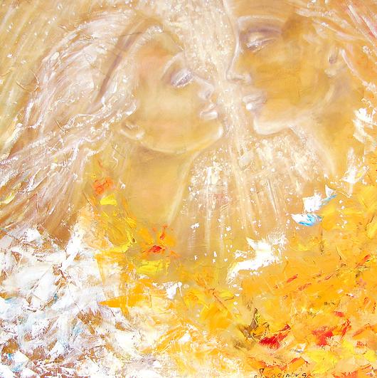 Люди, ручной работы. Ярмарка Мастеров - ручная работа. Купить Картина маслом В твоих глазах весь мир...влюбленные. Handmade.