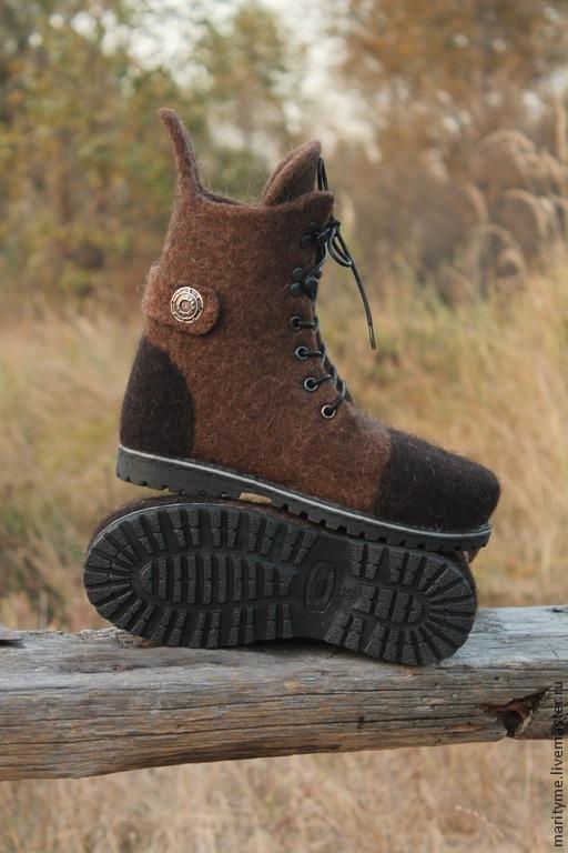"""Обувь ручной работы. Ярмарка Мастеров - ручная работа. Купить Валяные ботинки  """"Warm boots"""". Handmade. Коричневый, подошва"""