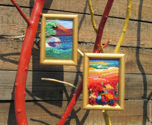 """Пейзаж ручной работы. Ярмарка Мастеров - ручная работа. Купить гобелены """"Озеро"""" и """"Зной"""". Handmade. Комбинированный, Гобелен, вода"""