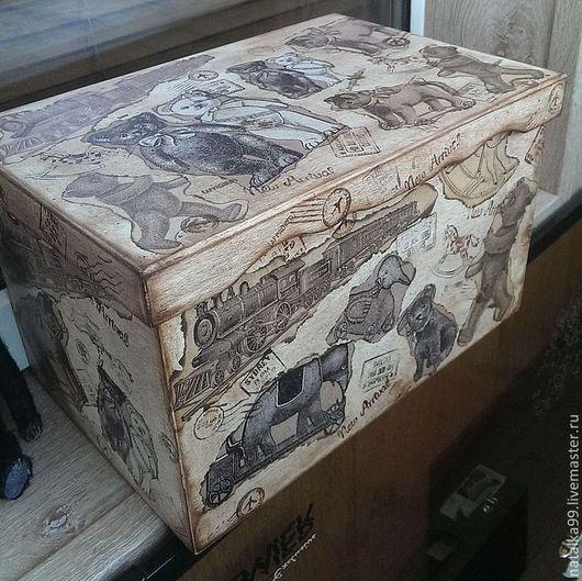 """Детская ручной работы. Ярмарка Мастеров - ручная работа. Купить Ящик для хранения  """"Винтажное детство"""".. Handmade. Коричневый, ящик для хранения"""