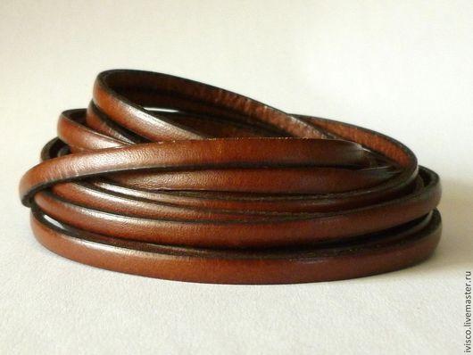 Для украшений ручной работы. Ярмарка Мастеров - ручная работа. Купить Кожаный шнур 5х2мм  темно-коричневый матовый. Handmade.