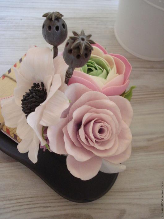 Интерьерные композиции ручной работы. Ярмарка Мастеров - ручная работа. Купить Розовый букетик в чашке. Handmade. Розовый, роза