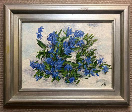 Картины цветов ручной работы. Ярмарка Мастеров - ручная работа. Купить Пролески. Handmade. Синий, цветы, проталины, холст на картоне
