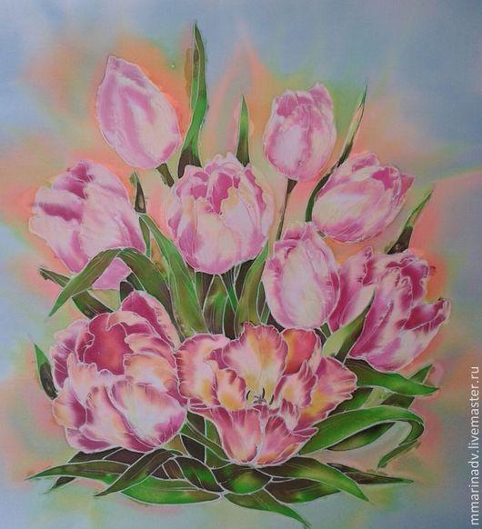 Батик картина `Весны подарок`, натуральный шёлк, 40-50 см.. Авторский батик Марины Маховской.