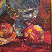 Картины и панно ручной работы. Ярмарка Мастеров - ручная работа АВТОРСКАЯ КАРТИНА ТЕМПЕРА НАТЮРМОРТ С  ГРАНАТОМ ONLY FOR YOU. Handmade.