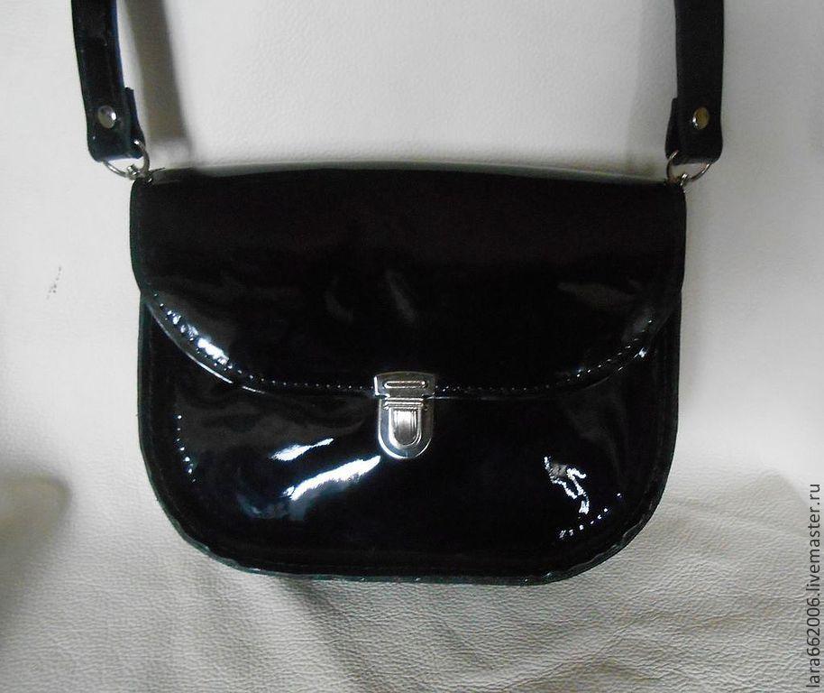 f1f552fe7251 ... маленькая Маленькая женская сумочка `Черныш` из натуральной лаковой  черной кожи, кожаная сумка, маленькая