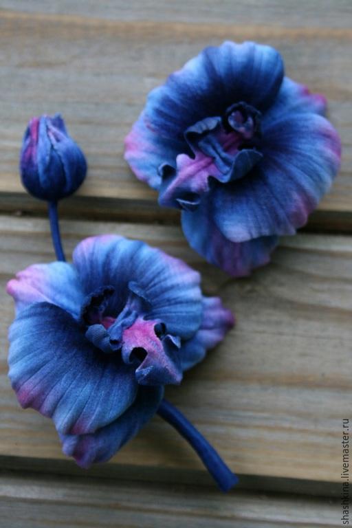 """Комплекты украшений ручной работы. Ярмарка Мастеров - ручная работа. Купить Комплект """"Blue orchids"""". Цветы из ткани, брошь заколка орхидеи. Handmade."""