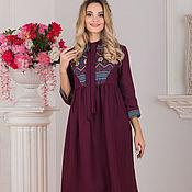 Одежда handmade. Livemaster - original item Dress linen boho Cabernet. Handmade.
