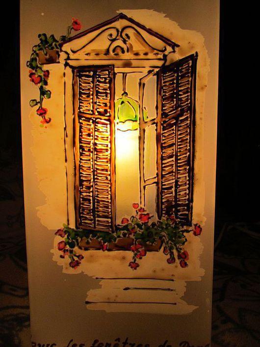 """Освещение ручной работы. Ярмарка Мастеров - ручная работа. Купить Светильник """"Окна Праги"""". Handmade. Окно, контуры по стеклу"""