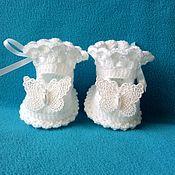 """Пинетки ручной работы. Ярмарка Мастеров - ручная работа Нарядные пинетки туфельки """"Butterfly"""" для девочки. Handmade."""