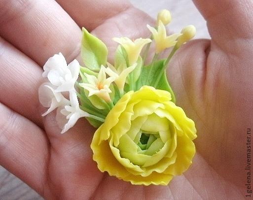 Броши ручной работы. Ярмарка Мастеров - ручная работа. Купить брошь Ранункулюс. Handmade. Желтый, ручная лепка, цветы в украшении