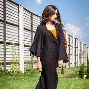 Одежда ручной работы. Ярмарка Мастеров - ручная работа КМГ_002 Пальто ассиметричное с углом, цвет черный с оранж.. Handmade.