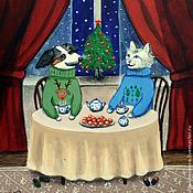 """Картины и панно ручной работы. Ярмарка Мастеров - ручная работа """"Чай и мандарины"""". Handmade."""