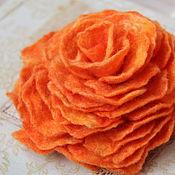 """Украшения ручной работы. Ярмарка Мастеров - ручная работа Валяная брошь """"Оранжевая роза"""". Handmade."""