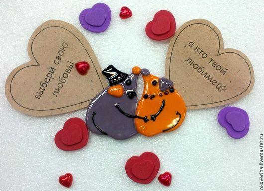 """Подарки для влюбленных ручной работы. Ярмарка Мастеров - ручная работа. Купить магнитик """"МЫШКИ"""". Handmade. Мышки, магнитик, стекло, фьюзинг"""