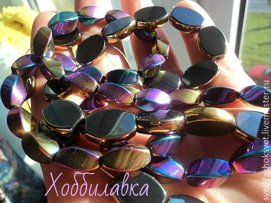 Яркие цветные глянцевые бусины в форме витого бочонка -гематита. размер 12* 6 мм цена 19 руб.шт. Доступно 65 шт.