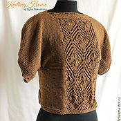 Одежда ручной работы. Ярмарка Мастеров - ручная работа Пуловер джемпер связан спицами из хлопка с акрилом шоколадный цвет. Handmade.