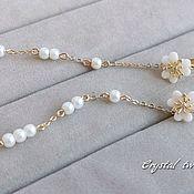 Свадебный салон handmade. Livemaster - original item Earrings with ceramic flowers and pearls Majorca. Handmade.