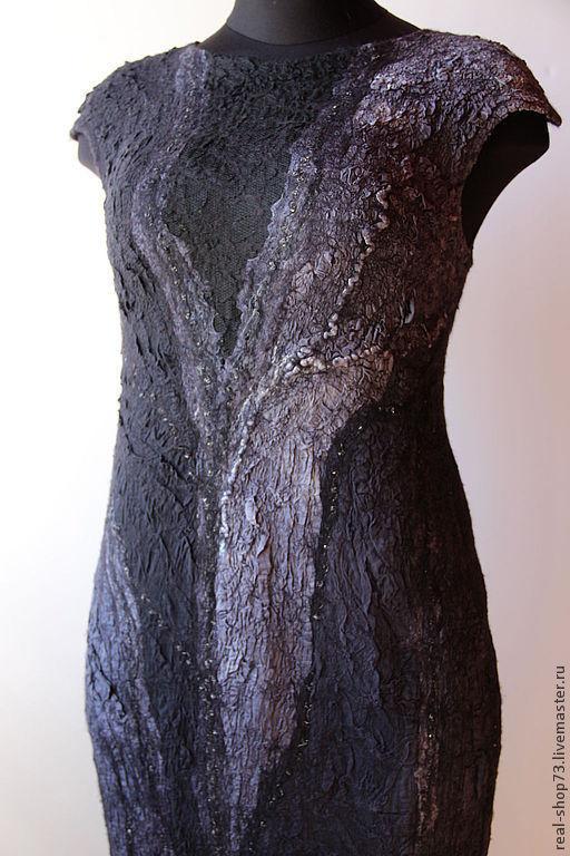 Платья ручной работы. Ярмарка Мастеров - ручная работа. Купить Валяное платье-сарафан Антрацит. Handmade. Абстрактный, Мокрое валяние