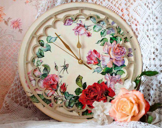 """Часы для дома ручной работы. Ярмарка Мастеров - ручная работа. Купить Часы настенные """"Розовый сад"""". Handmade. Часы с розами"""