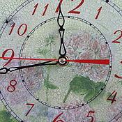 """Для дома и интерьера ручной работы. Ярмарка Мастеров - ручная работа Настенные часы декупаж """"Герань"""". Handmade."""