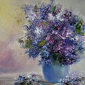 Картины и панно handmade. Livemaster - original item Oil painting with lilac flowers. Handmade.