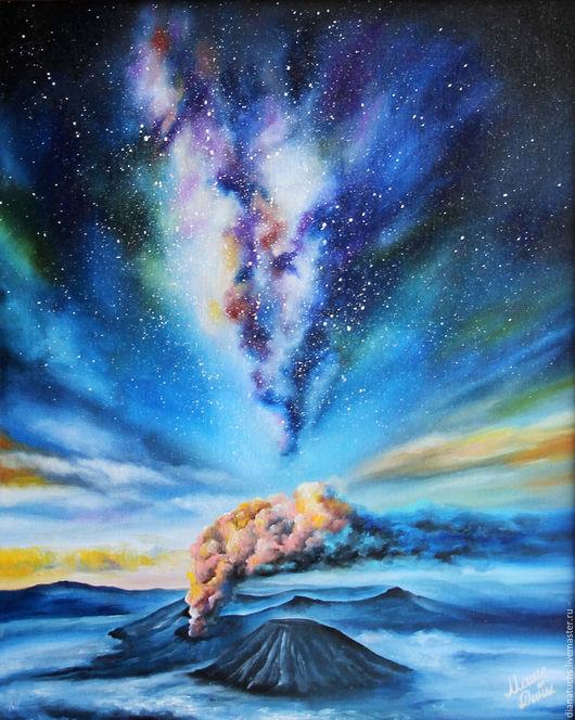 Пейзаж ручной работы. Ярмарка Мастеров - ручная работа. Купить Извержение вулкана. Handmade. Вулкан, млечный путь, звездное небо