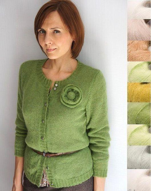 Кофты и свитера ручной работы. Ярмарка Мастеров - ручная работа. Купить Кофточка мохеровая Тополиный лист. Handmade. Зеленый