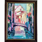 Картины и панно handmade. Livemaster - original item Painting Venice city landscape in a frame oil palette knife. Handmade.