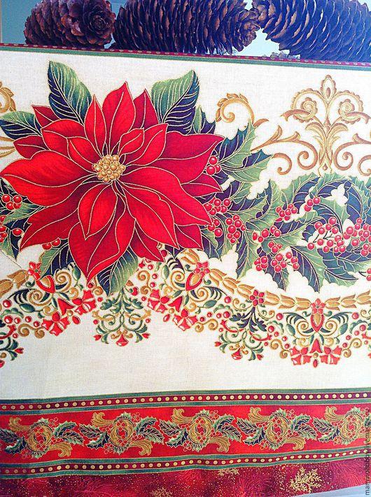 Новый год 2017 ручной работы. Ярмарка Мастеров - ручная работа. Купить Скатерть Новогодняя гирлянда 140х230 Красное золото. Handmade.