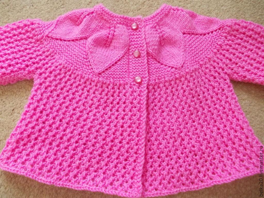 Розовые ажурные жакеты для девочек, связанные на спицах