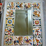 Для дома и интерьера ручной работы. Ярмарка Мастеров - ручная работа Зеркало декорированное изразцами ручной работы. Handmade.