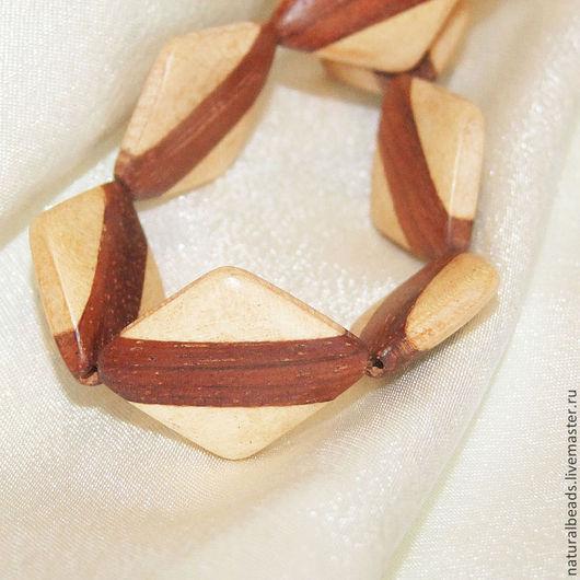 Для украшений ручной работы. Ярмарка Мастеров - ручная работа. Купить РОМБ бусины деревянные полосатые белое и коричневое  дерево. Handmade.