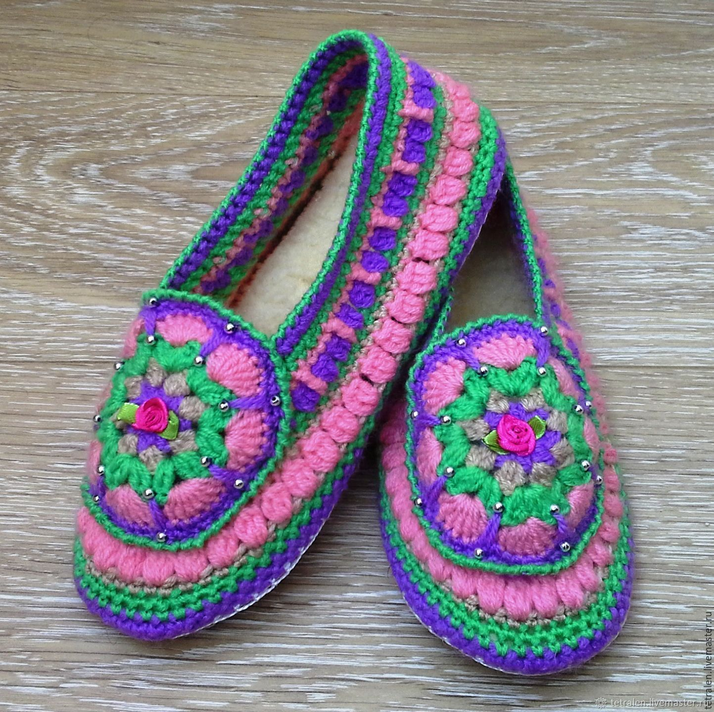 22e5ffacf7006b Gift Handmade Shoes handmade. Slippers knitted Summer leather sole. Knitted  stuff from Svetlana.