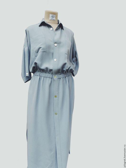 Платья ручной работы. Ярмарка Мастеров - ручная работа. Купить Платье- рубашка длинное. Handmade. Голубой, платье с длинным рукавом