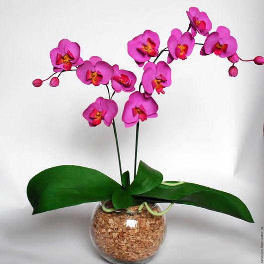 Цветы ручной работы. Ярмарка Мастеров - ручная работа. Купить Орхидея Фаленопсис в горшочке - из полимерной глины. Handmade. Фиолетовый