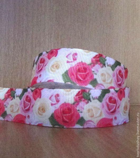 """Другие виды рукоделия ручной работы. Ярмарка Мастеров - ручная работа. Купить Репсовая лента """"Розы""""  (68). Handmade."""