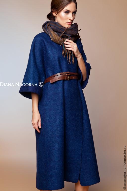 """Верхняя одежда ручной работы. Ярмарка Мастеров - ручная работа. Купить Авторское пальто из мериносовой шерсти """" Navy blue"""". Handmade."""