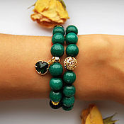 Украшения handmade. Livemaster - original item A bright set of bracelets with green agate. Handmade.