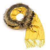 Аксессуары handmade. Livemaster - original item Cashmere scarf with Raccoon fur (yellow). Handmade.